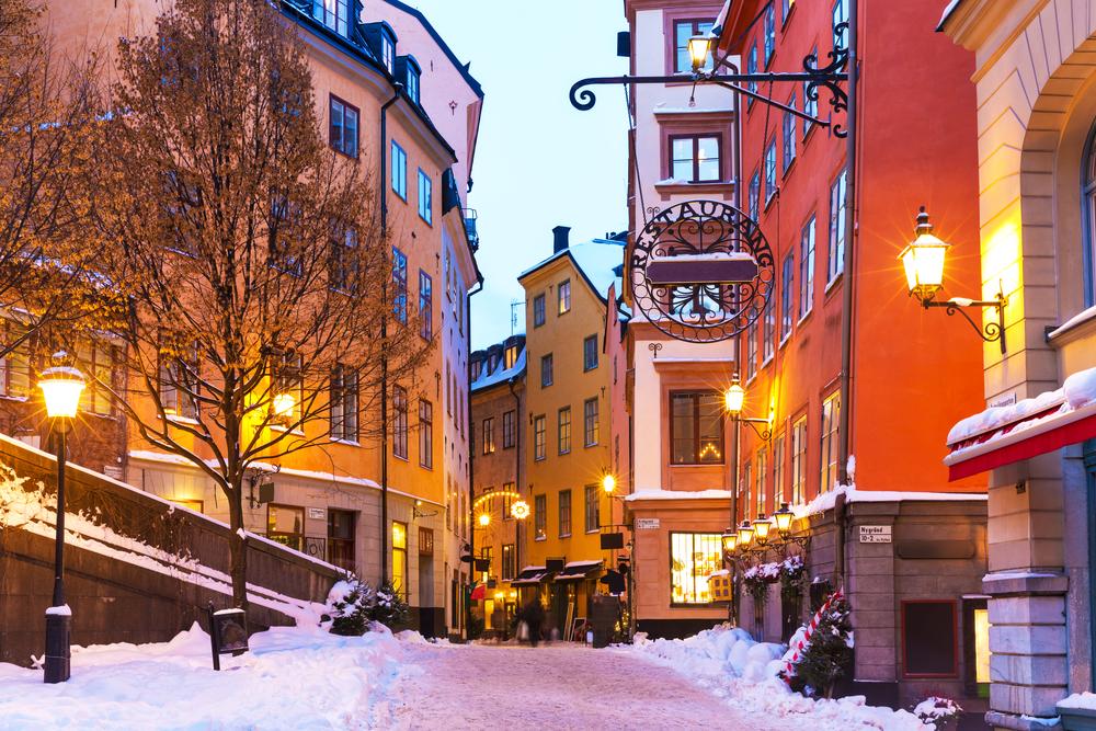 Улочки Стокгольма зимой