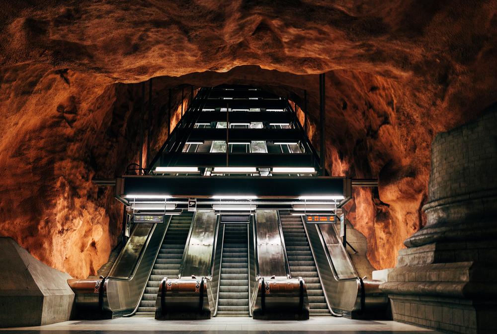 Одна из станций метро в Стокгольме, Швеция