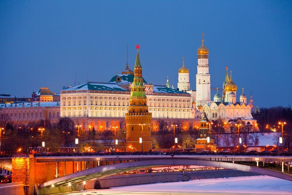 Вид на Московский Кремль, Россия