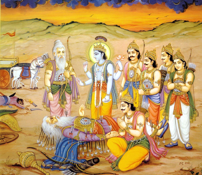 Пятеро Пандавов и Кришна около деда Бхишмадевы на поле битвы Курукшетра