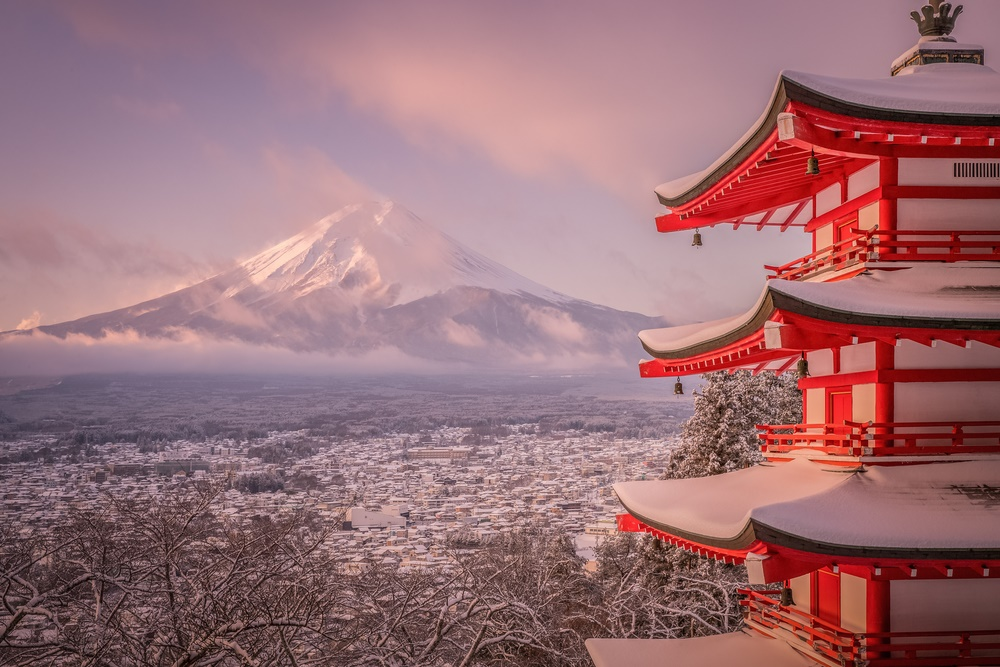 Вид на гору Фудзи зимой