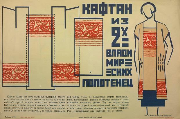 Модель платья из двух владимирских полотенец, разработанная Надеждой Ламановой (Альбом «Искусство в быту», 1925 год. Иллюстрация по модели – Веры Мухиной)