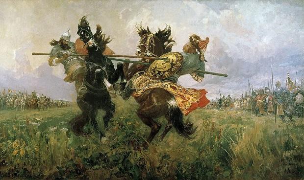 Картина М.И. Авилова «Поединок Пересвета с Челубеем на Куликовом поле» (1943 год)