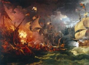 В ходе Англо-испанской войны английский флот нанес сокрушительный удар испанской «Непобедимой армаде»