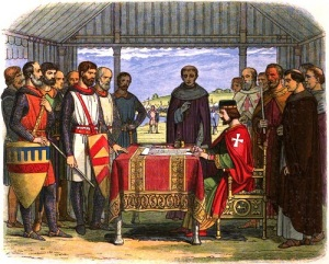 Английский король Иоанн Безземельный подписал «Великую хартию вольности»