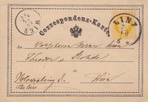 В Вене выпущена первая в мире почтовая открытка с маркой
