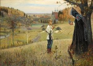 Молодой богомолец Варфоломей пострижен в монахи с именем Сергий