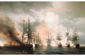Русский флот под командованием адмирала Нахимова одержал блестящую победу над турецким флотом у мыса Синоп
