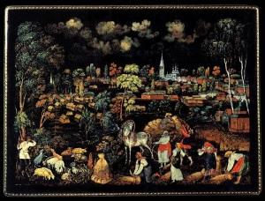В старинном русском селе Палех cозданы Палехские художественные мастерские