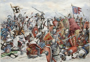 Войско Александра Невского одержало победу над немецкими рыцарями на Чудском озере (Ледовое побоище)