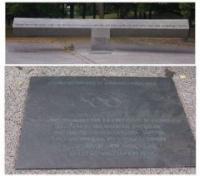 Памятный камень и мемориальная доска в Олимпийском парке Мюнхена