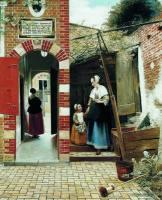 Служанка с ребенком во дворике (1658)