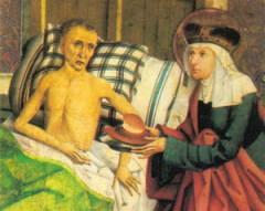 Святая Агнесса Чешская, ухаживающая за больным