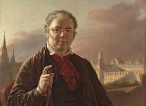 Василий Тропинин. Автопортрет с кистями с видом на Кремль (фрагмент картины, 1844)