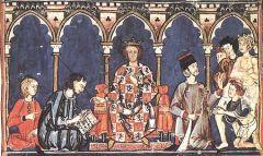 Альфонсо X Кастильский в центре на троне