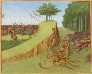 Роланд в последнем бою безуспешно призывает друзей
