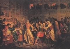 Софья Витовтовна на свадьбе сына срывает золотой пояс с сына Юрия Дмитриевича